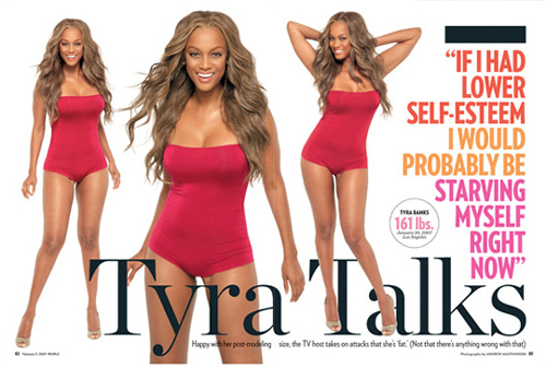 "Images of Tyra Banks fighting back after being called ""America's Next Top Waddle"" (Image courtesy of Hilary.com)"