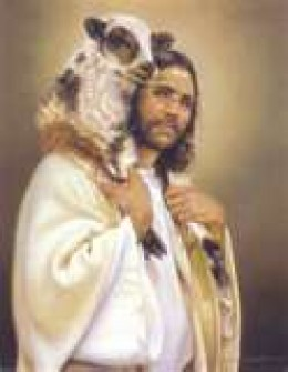 """The Good shepard """" I know mine and my sheep know me"""" He who will go after one lost sheep and leave the others to return it to the fold.  His love for us."""