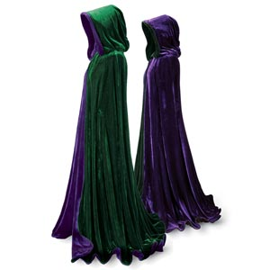 Momentous occasions call for raiment dignified and appropriate. To that end, we present this elegant formal cape: fully hooded and reversible, falling in a double-thick cascade of plush emerald and purple velvet,