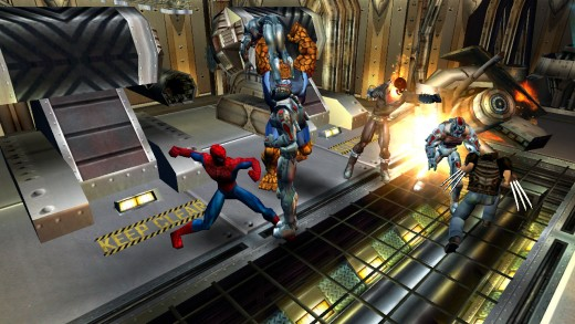The game play resembles the Champions titles from the PS2.  The overhead view allows for four people to play cooperatively.