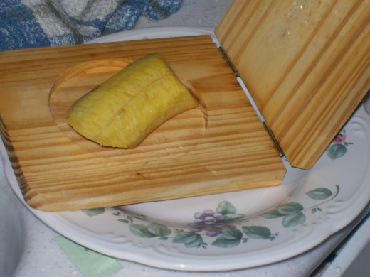 Flatten the plantains.