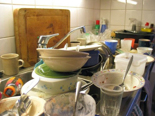 Easiest way to get rid of dirty dishes...throw them all out!