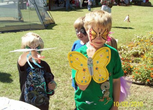 These cheerful  boys liked the ability of the butterfly to flit and bounce and look beautiful too! Each butterfly had some glow-in-the-dark paint.