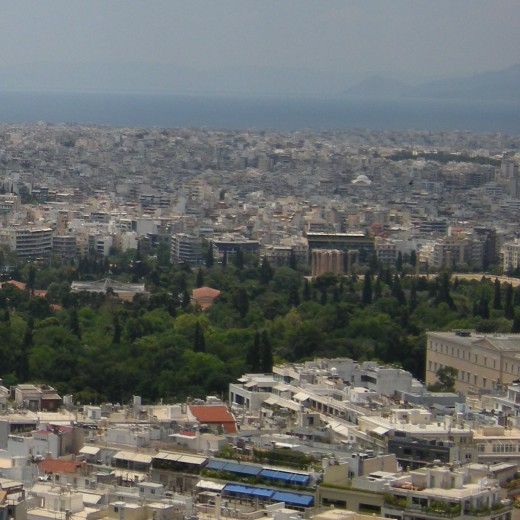 The Gardens, the Temple of Zeus and the Parliament (on the right)