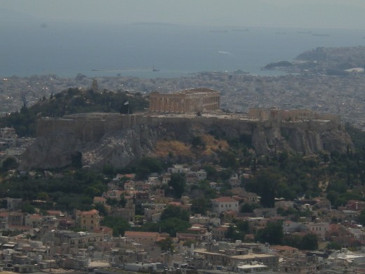 Acropolis, Plaka and the sea in the distance