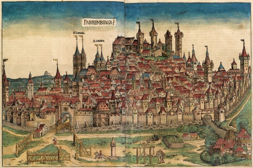 A paper mill can be seen, in the right corner of the city. This is the picture of the old city of Nuremberg.