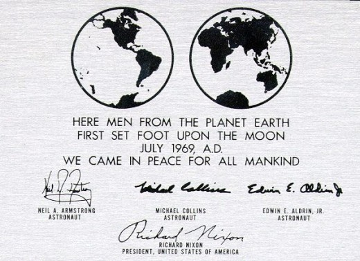 "Mankind owns the moon  ""We came in peace for all mankind"""