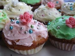 Coarse or decorating sugar on cupcakes