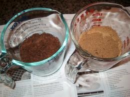 Muscovado Sugar left and regular brown sugar right.