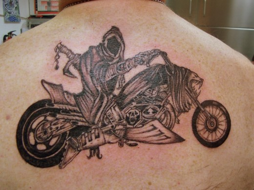 The fourth of my Biker Tattoos is the old Grim Reaper himself on the bike,
