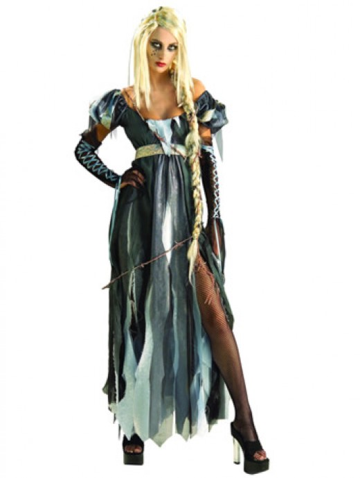 In this dress you can Rest In Peace - in style. A variety of blue grey fabrics is layered up to give this costume a really striking effect.