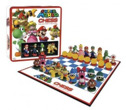 The Super Mario Brothers Chess Set features famous Mario characters like Mario, Luigi, Princess Peach, Birdo, Goomba, Toad, Bowser, Bowser Jr, Yoshi and more!