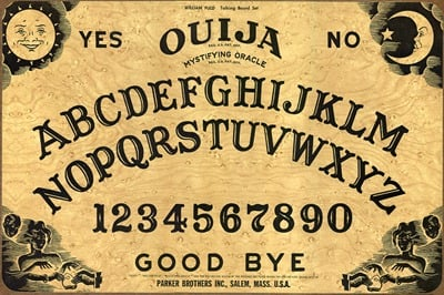 "O is for Ouija a ""talking board""-- that is if everyone cooperates"