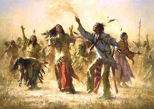 This art rendition depicts the Spirit Dance that has Indigenous and Christian roots.