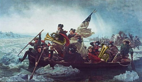 """A Parade in Their Hearts."" This is the artist's impression of Washington crossing the Delaware, 4th of July parade instruments at the ready."