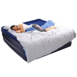 """Smart Air Beds Deluxe Flock Top Raised King Size Air Bed (Elevated 22"""" High)"""