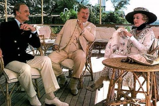 David Niven, Peter Ustinov and Bette Davis in Death on the Nile