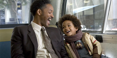 Pursuit of Happyness, starring Will Smith and his son