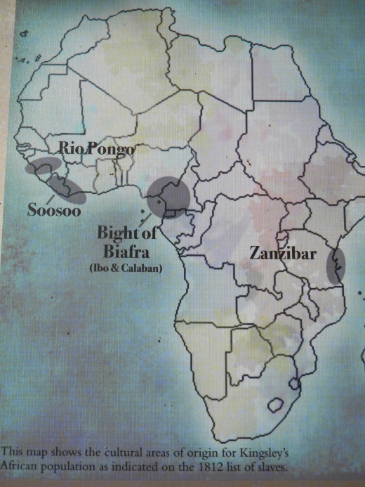 Map of Africa showing the origination of some Kingsley slaves : Kingsley Plantation