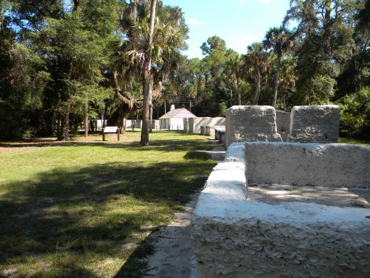 Ruins of tabby slave cabins.  Note the oyster shells visible in the walls.   Kingsley Plantation
