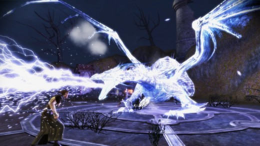 There are not many dragons to fight in Dragon Age, but this ghostly one in Awakenings is a highlight of an encounter.  This creature dwells in the Blackmarsh, beware!