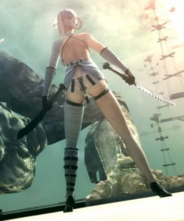 Perhaps the strangest aspect of NIER is Kaine (pictured in her skimpy clothes above) who is an outcast because *spoiler* she's a hermaphrodite. *end spoiler*  This is just one of the bizarre realities in NIER.
