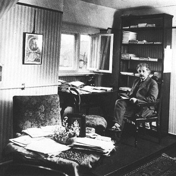 Albert Einstein in his room.