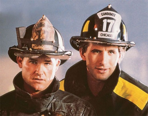 Kurt Russell and Daniel Baldwin in Backdraft
