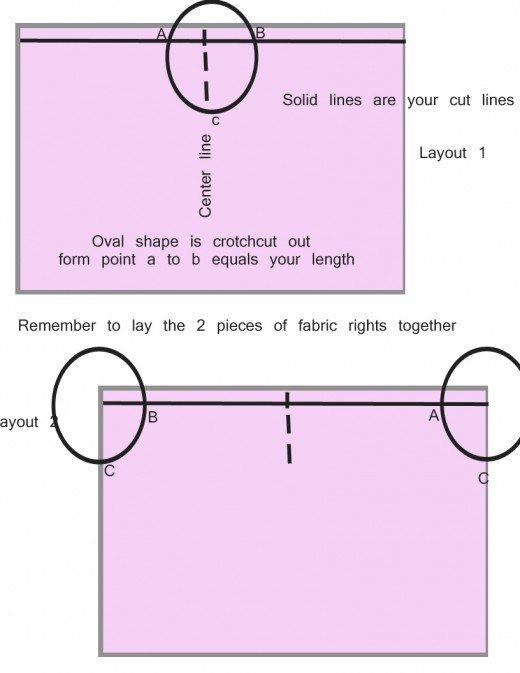 layout of harem pants