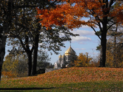 Russian Orthodox church as viewed from Hogs Back Park, Ottawa