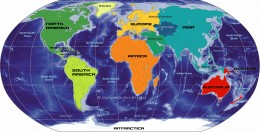 Colorful View of the World - All Continents - East and West - A Global View