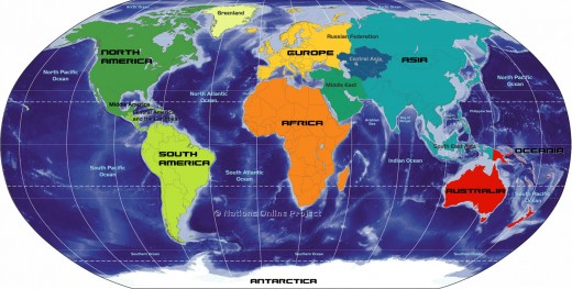 colorful map of the world showcasing different continents in bright orange, lime green, royal blue