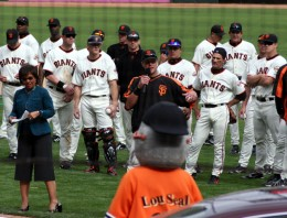 Team photo with mascot LouSeal in foreground