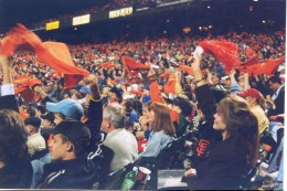 Waving rally rags during NLCS game at home...that'sme on the far right.