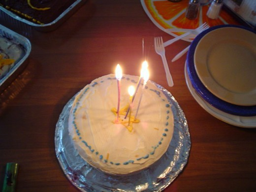 Cake with candles.