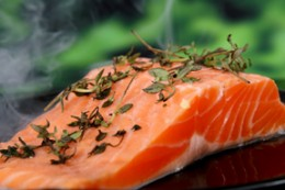 Fat in the diet should be a healthy type, such as the omega-3 fat in wild salmon.