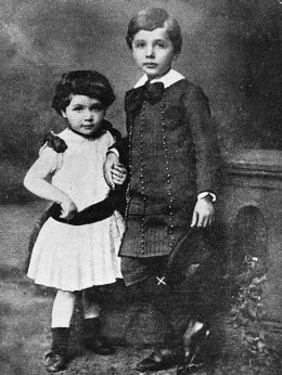 Albert Einstein with his sister Maja about 1884.
