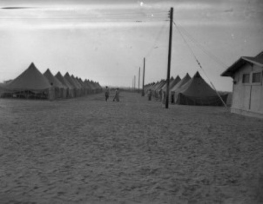 Nearby Japanese Prisoner War Camp where my husband parents lived after the war. They lived in tents on platforms.  Sanitary, bath and laundry facilities were provided.   They also governed and policed themselves.