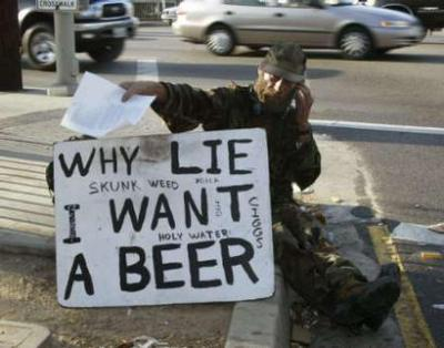 At least this guy is honest. That's worth a beer isn't it?