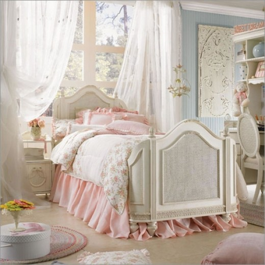 Emma Treasures Mansion Bed - love the white rattan finish on the bed's frame