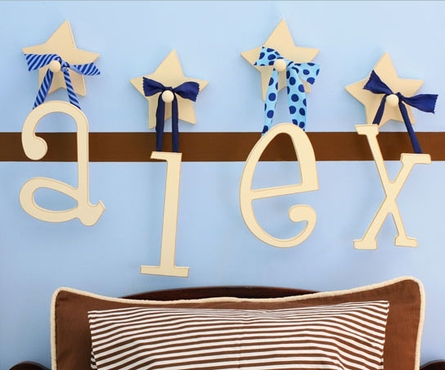 wooden hanging letters for personalizing kids room