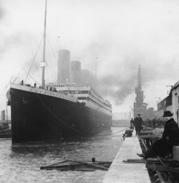The Titanic in port at Southampton, England. Courtesy of TitanicUniverse@google.