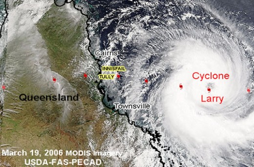 A satellite image showing the enormity of Cyclone larry as it approaches landfall
