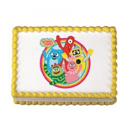 Edible Yo Gabba Gabba cake images make a sheet cake or even a round cake look like they were professionally made. They are super easy to use!
