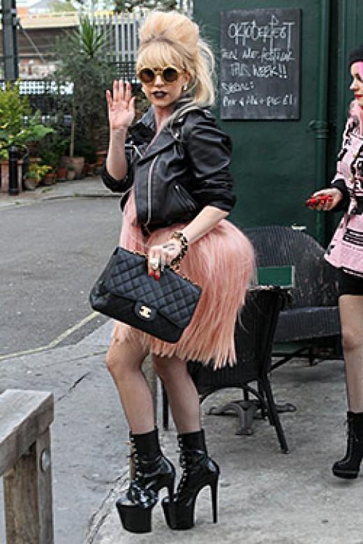 Lady Gaga's Pink Bustle Skirt