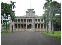 Iolani Palace is located across the street from Kawaiaha'o Church
