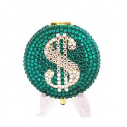 Lucky Dollar $ Sign Emerald Green Crystal Estee Lauder Lucidity Powder Compact