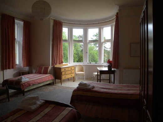 This is one of the bedrooms.  You can see the wonderful curved windows in the bay.