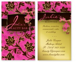 Beauty Business Card with pretty flower pattern in pink and gold, great for any makeup artist Avon professional or beauty stylist as well as a hair salon or spa or nails salon.