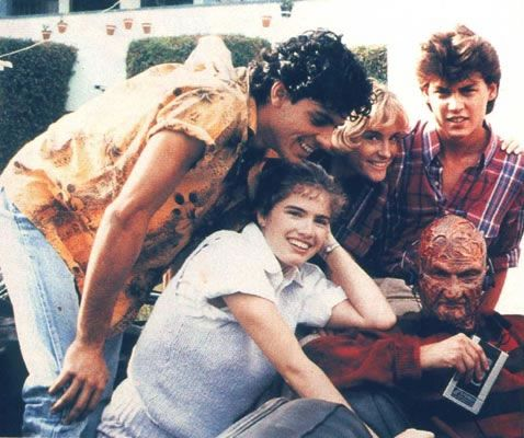 Cast of A Nightmare on Elm Street.  In the upper right-hand corner is a young Johnny Depp